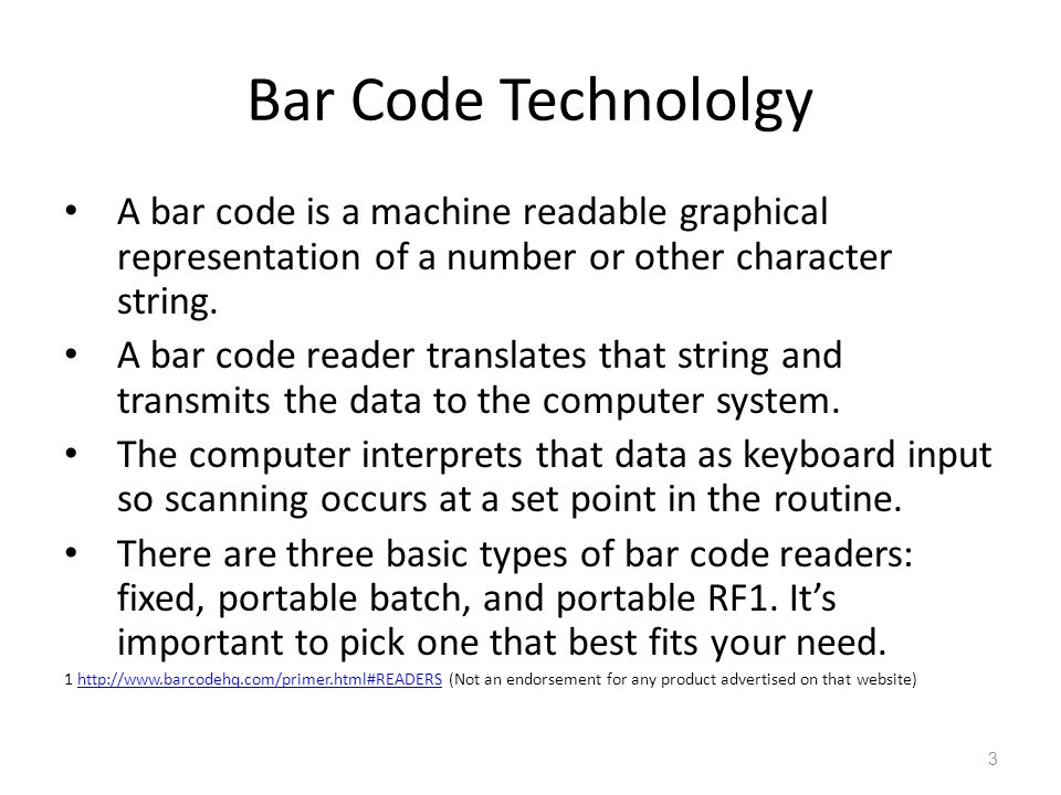 Bar Code Technololgy A bar code is a machine readable graphical representation of a number or other character string.
