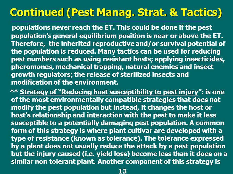Continued (Pest Manag. Strat. & Tactics)