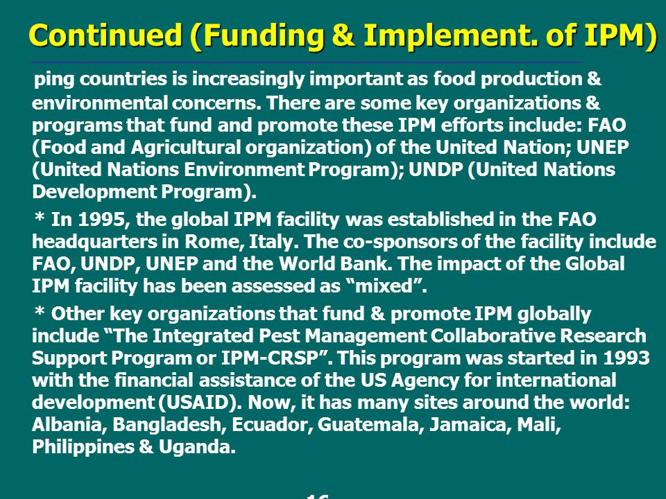 Continued (Funding & Implement. of IPM)