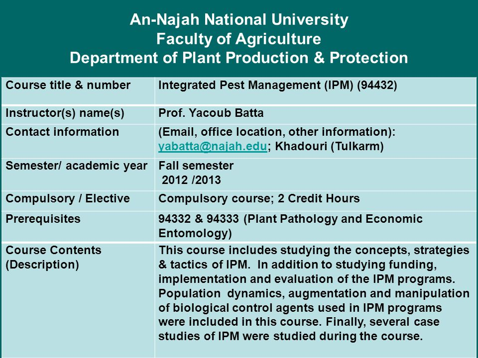 Department of Plant Production & Protection