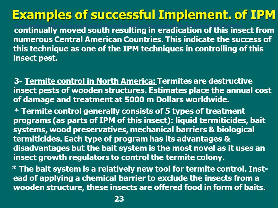 Examples of successful Implement. of IPM