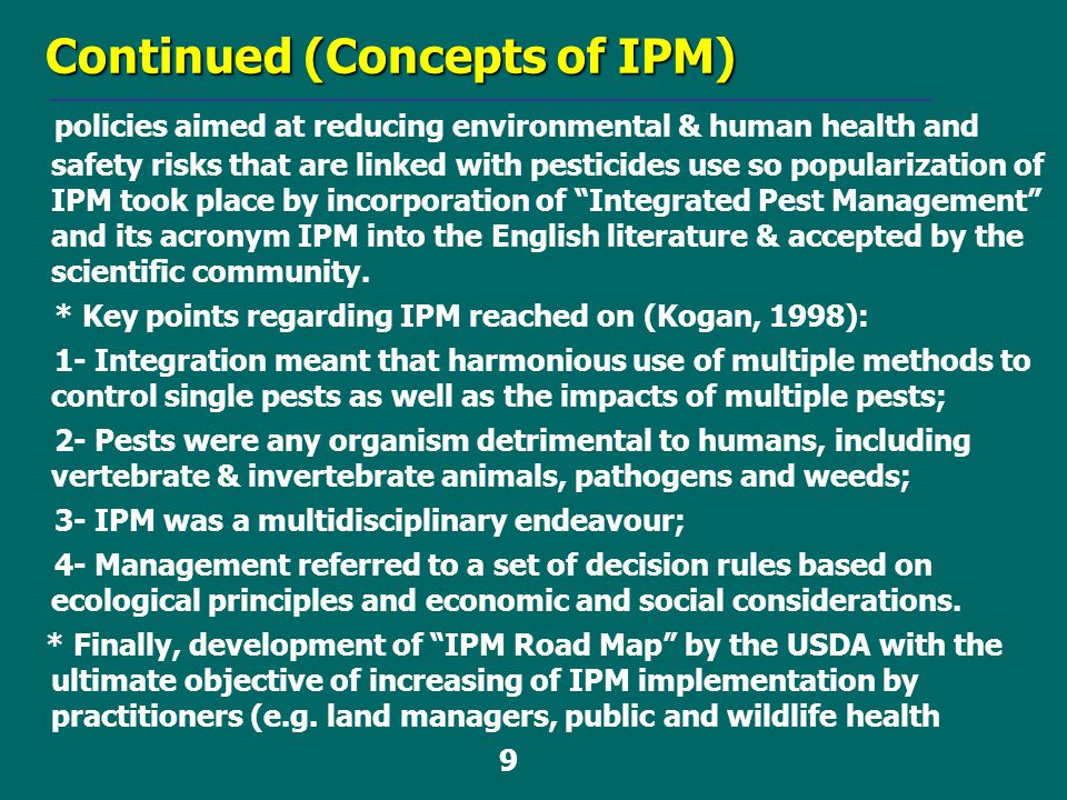 Continued (Concepts of IPM)
