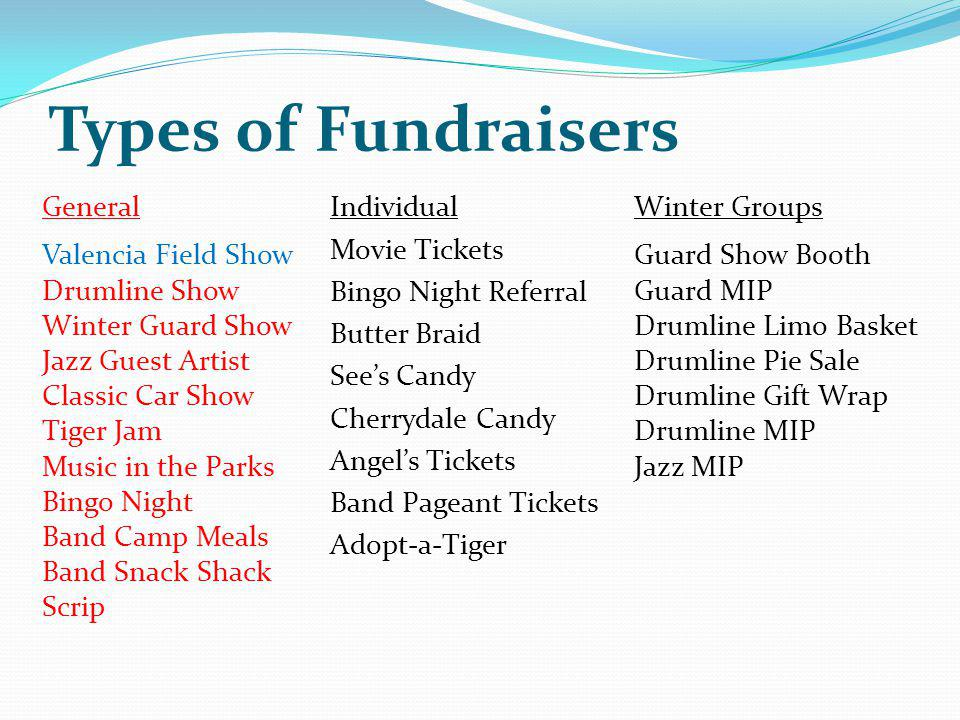 Types of Fundraisers General Valencia Field Show Drumline Show
