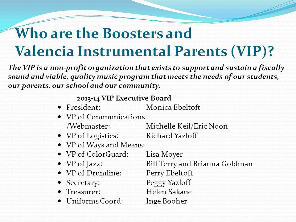 Who are the Boosters and Valencia Instrumental Parents (VIP)