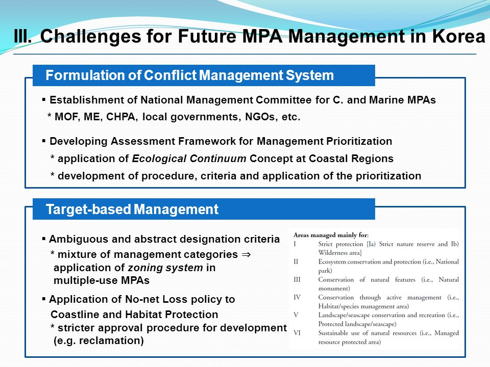III. Challenges for Future MPA Management in Korea