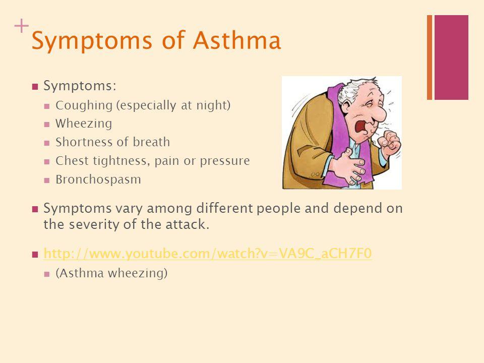 Symptoms of Asthma Symptoms: