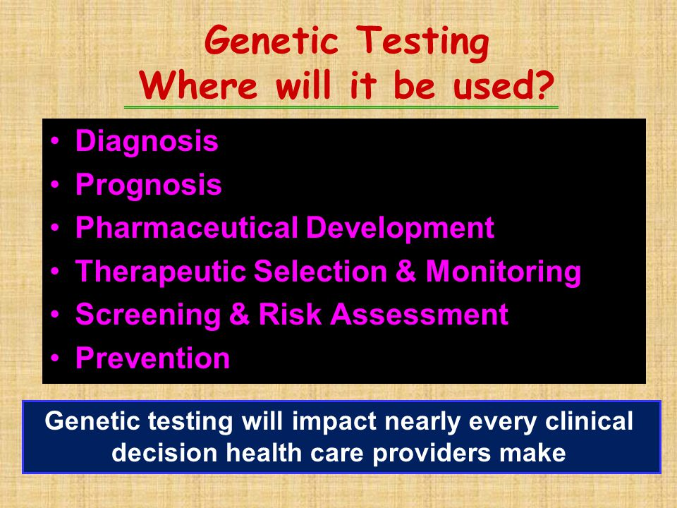 Genetic Testing Where will it be used