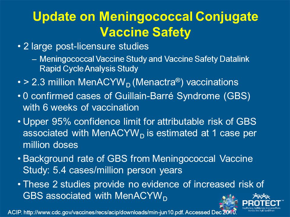 Update on Meningococcal Conjugate Vaccine Safety