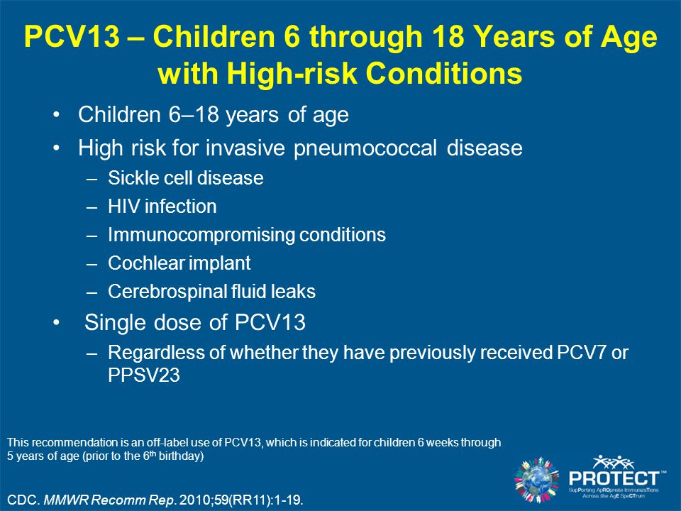 PCV13 – Children 6 through 18 Years of Age with High-risk Conditions