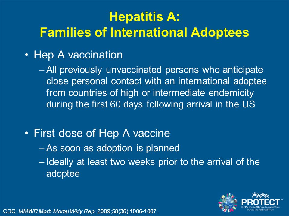Hepatitis A: Families of International Adoptees