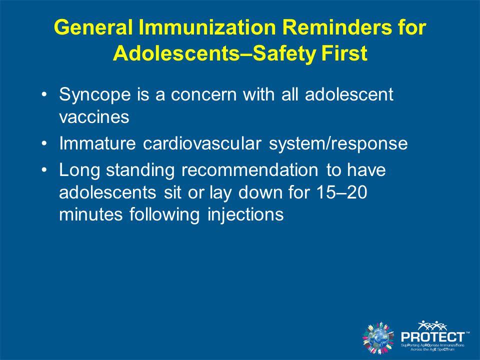 General Immunization Reminders for Adolescents–Safety First