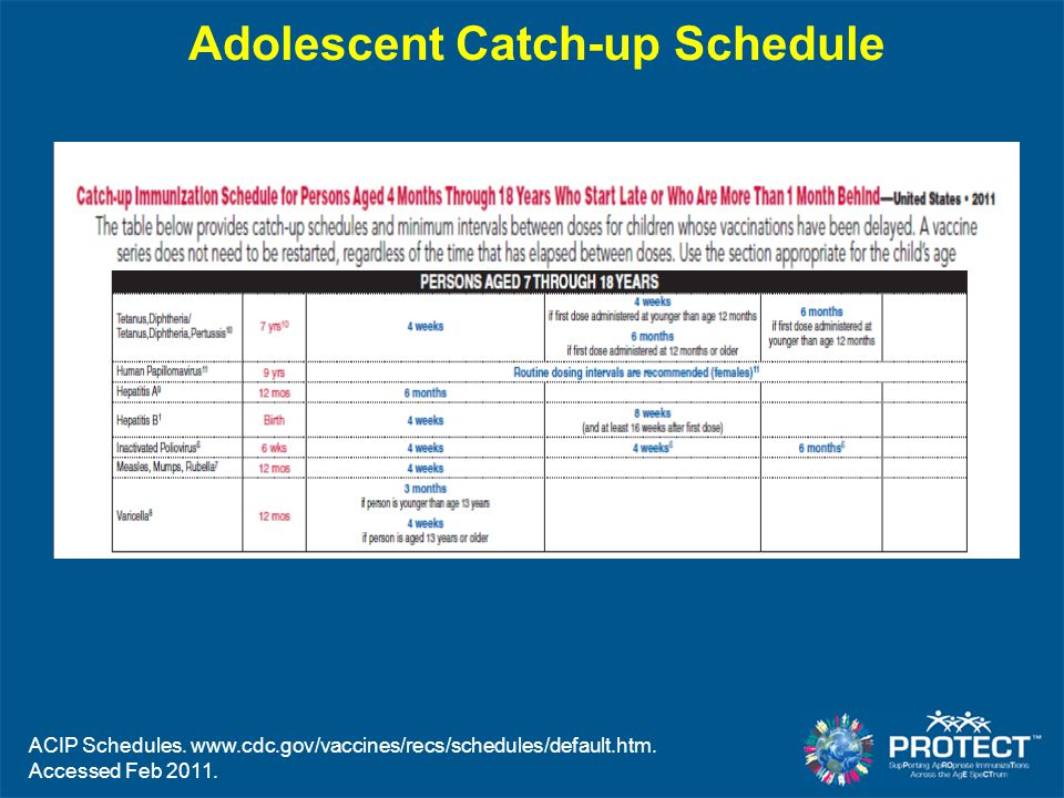 Adolescent Catch-up Schedule
