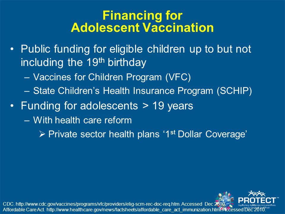 Financing for Adolescent Vaccination