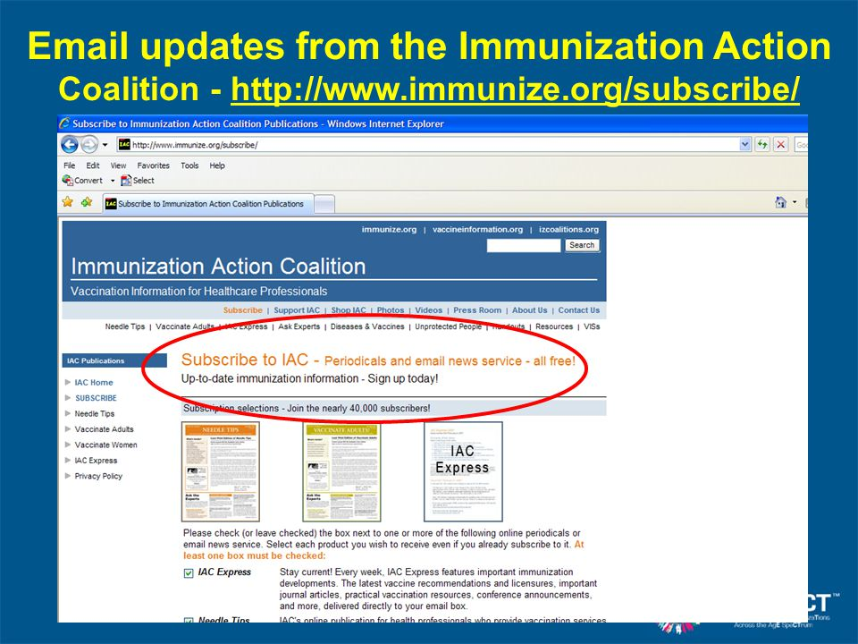 Email updates from the Immunization Action Coalition - http://www