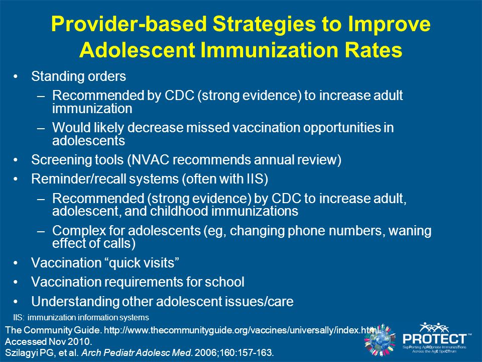 Provider-based Strategies to Improve Adolescent Immunization Rates