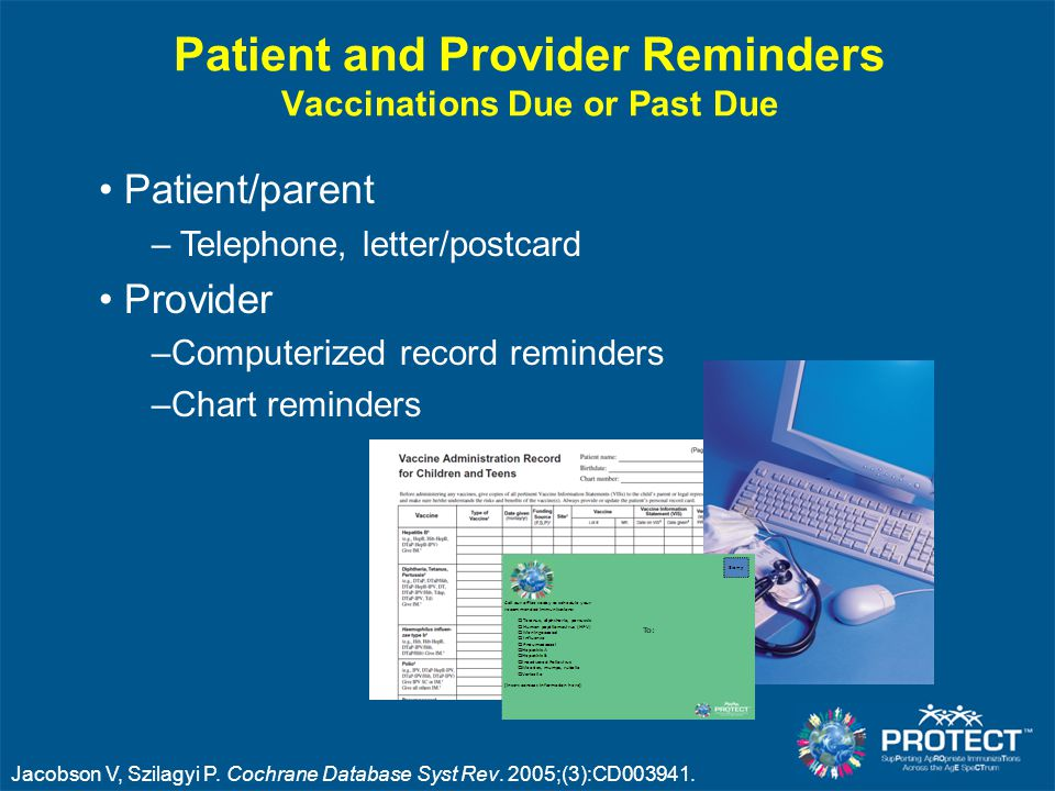 Patient and Provider Reminders Vaccinations Due or Past Due