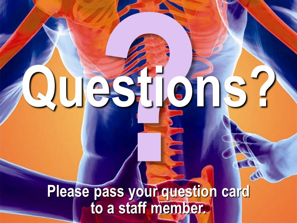 Please pass your question card to a staff member.