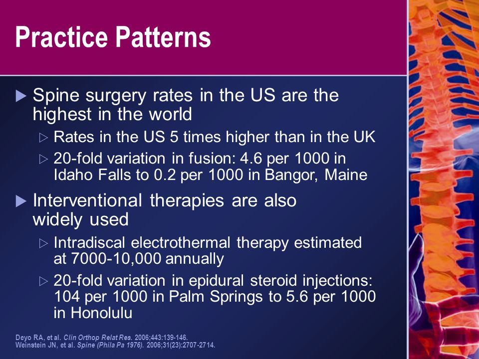 Practice Patterns Spine surgery rates in the US are the highest in the world. Rates in the US 5 times higher than in the UK.
