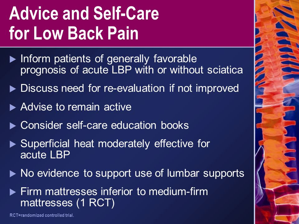 Advice and Self-Care for Low Back Pain