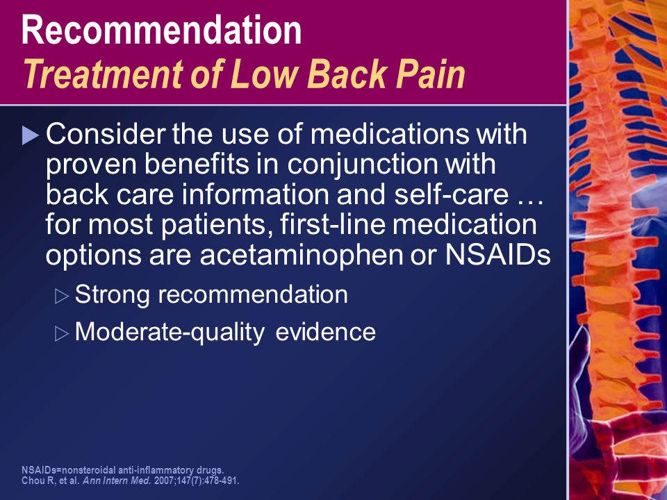 Recommendation Treatment of Low Back Pain