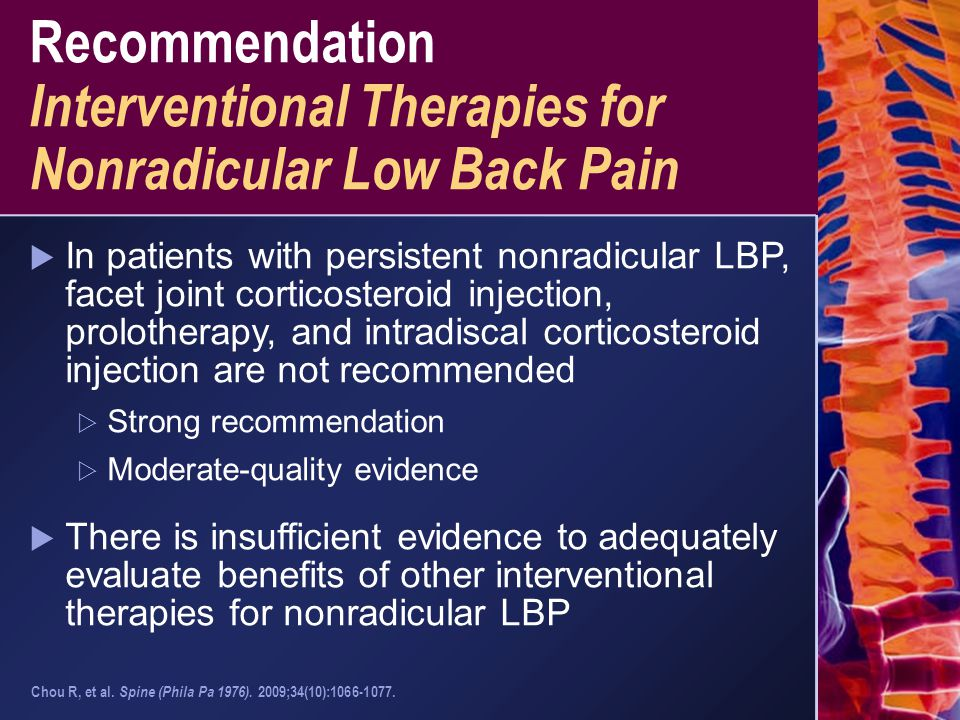 Recommendation Interventional Therapies for Nonradicular Low Back Pain