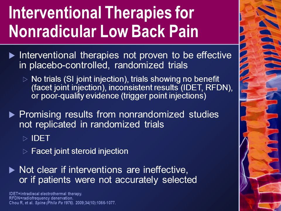 Interventional Therapies for Nonradicular Low Back Pain
