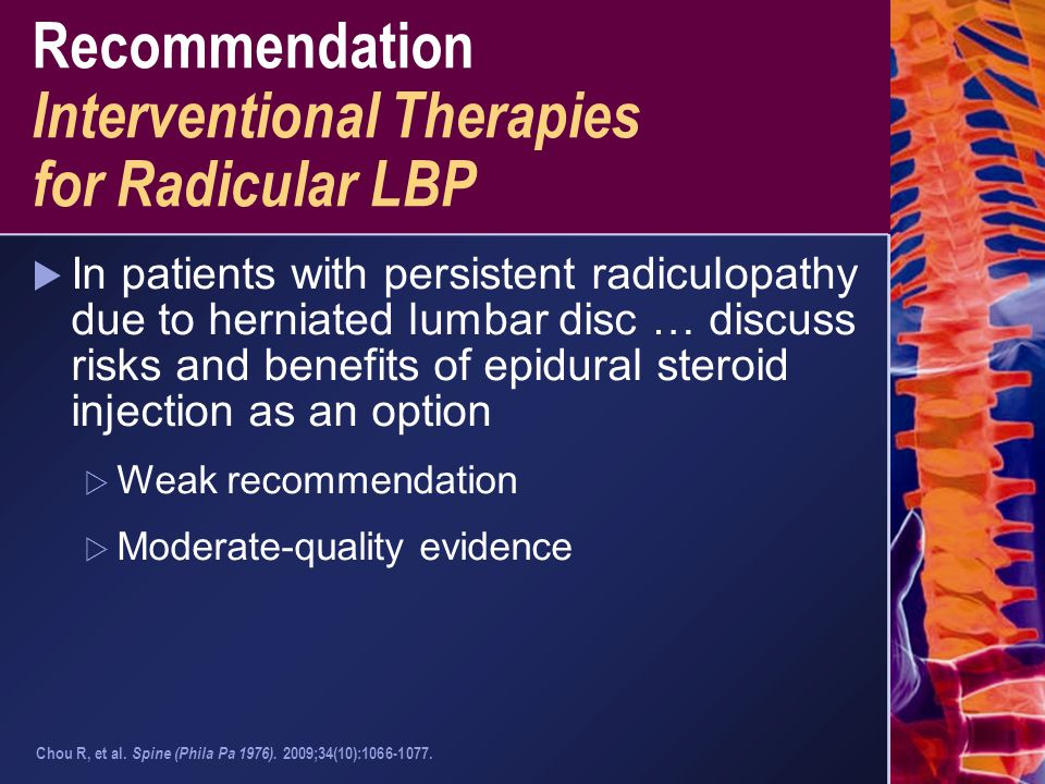 Recommendation Interventional Therapies for Radicular LBP