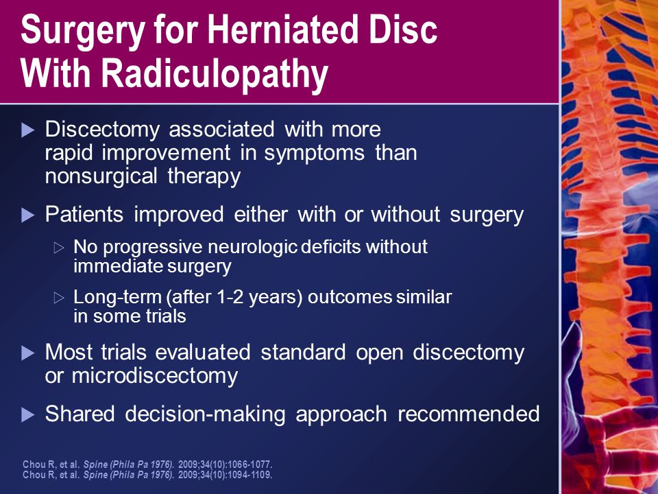Surgery for Herniated Disc With Radiculopathy