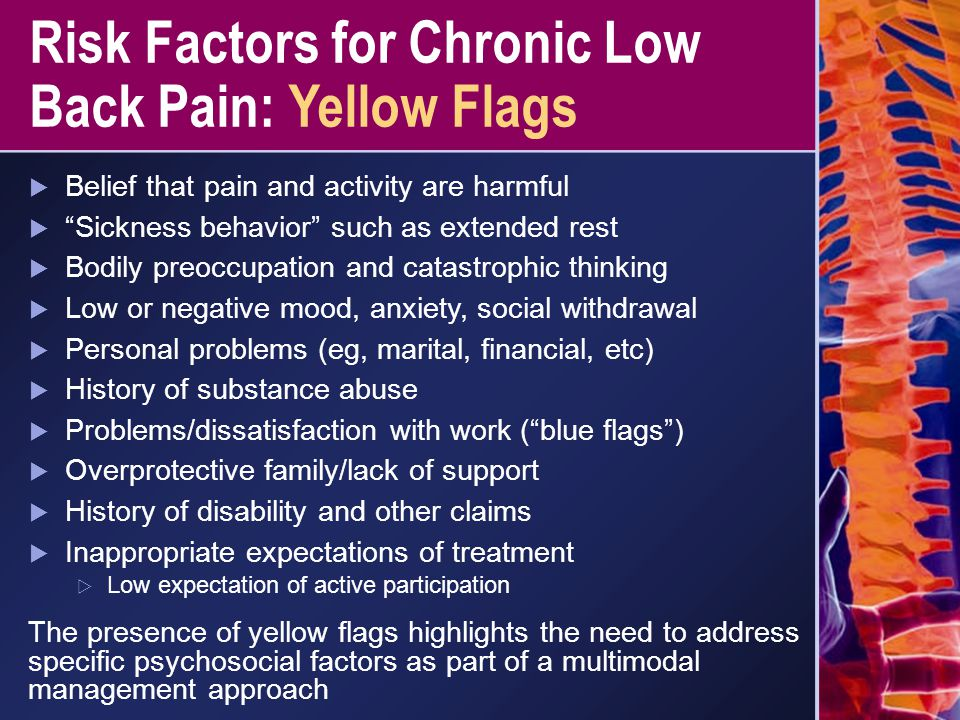 Risk Factors for Chronic Low Back Pain: Yellow Flags