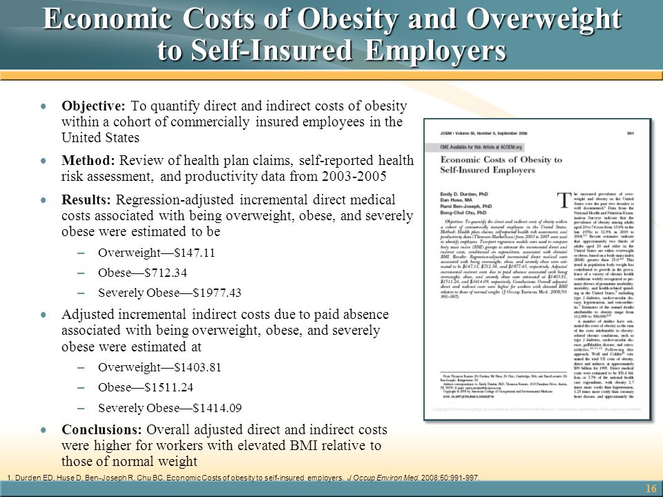Economic Costs of Obesity and Overweight to Self-Insured Employers
