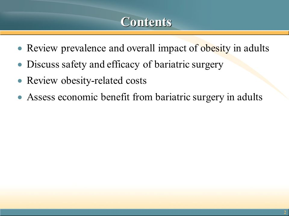 Contents Review prevalence and overall impact of obesity in adults