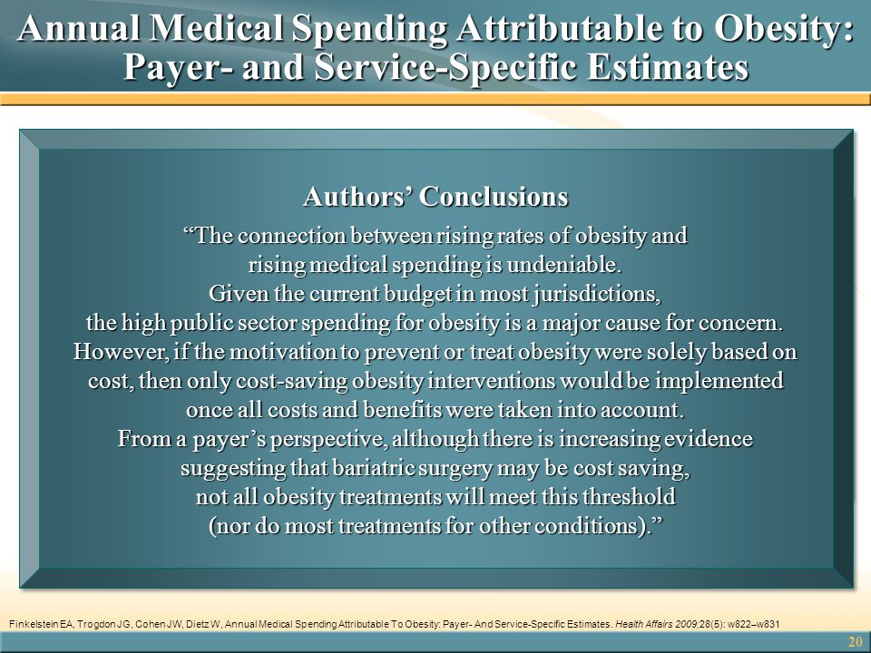 Annual Medical Spending Attributable to Obesity: Payer- and Service-Specific Estimates