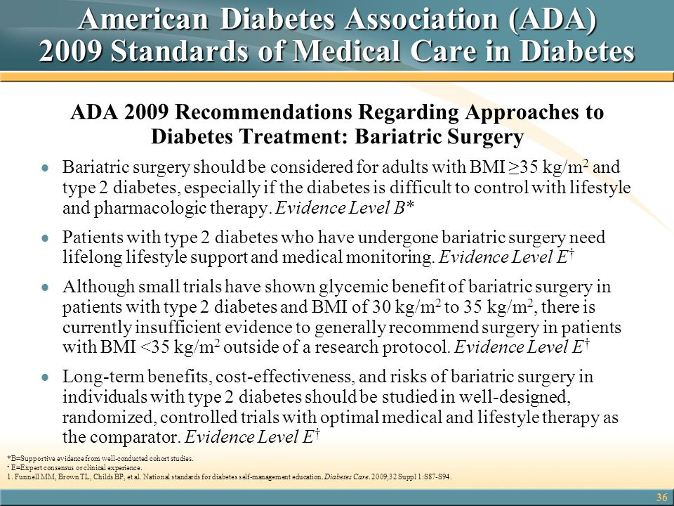 American Diabetes Association (ADA) 2009 Standards of Medical Care in Diabetes
