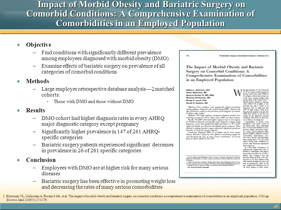 Impact of Morbid Obesity and Bariatric Surgery on Comorbid Conditions: A Comprehensive Examination of Comorbidities in an Employed Population