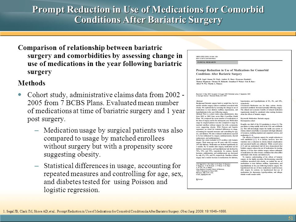 Prompt Reduction in Use of Medications for Comorbid Conditions After Bariatric Surgery