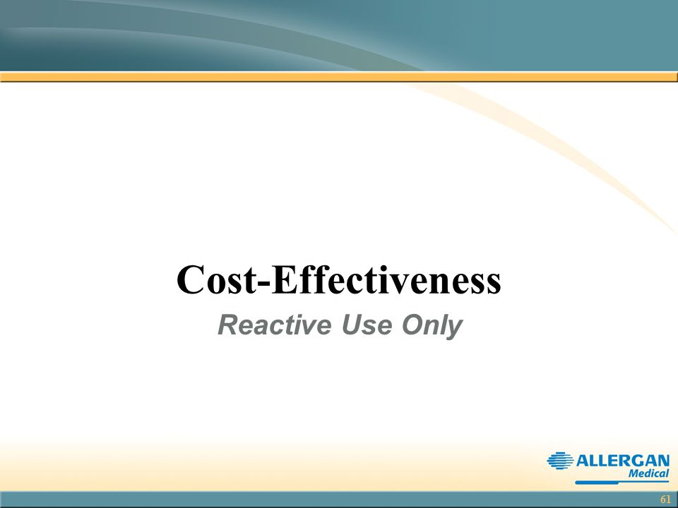 Cost-Effectiveness Reactive Use Only