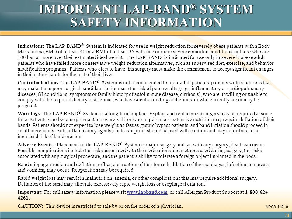 IMPORTANT LAP-BAND® SYSTEM SAFETY INFORMATION