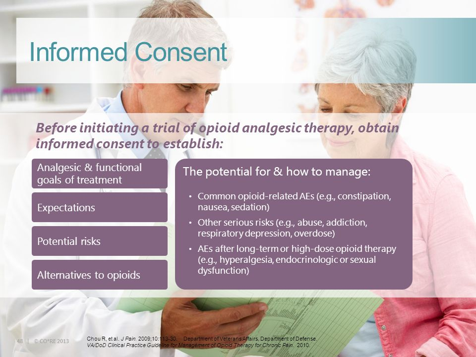 Informed Consent Before initiating a trial of opioid analgesic therapy, obtain informed consent to establish: