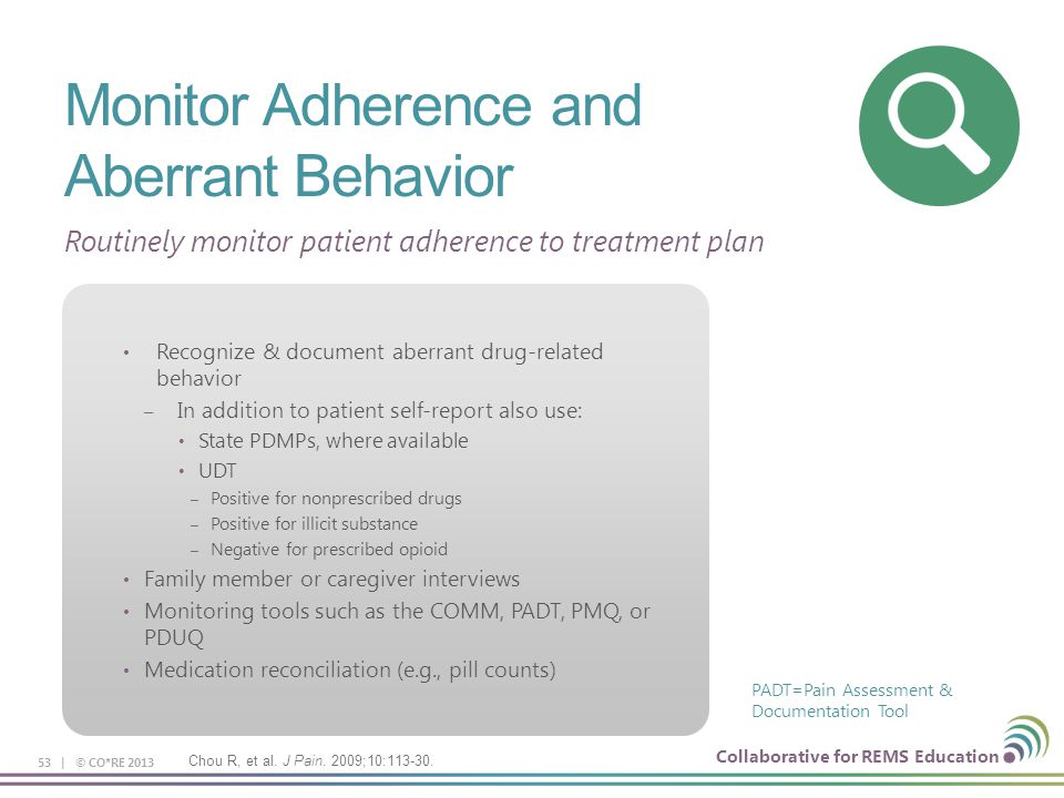 Monitor Adherence and Aberrant Behavior