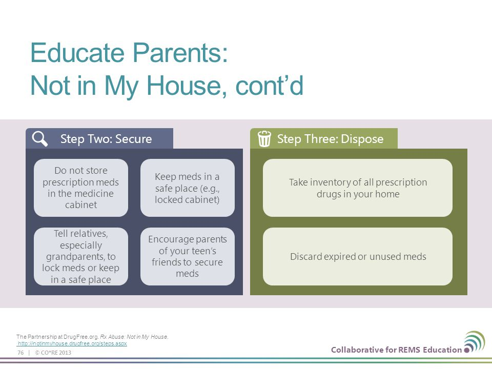 Educate Parents: Not in My House, cont'd Step Two: Secure