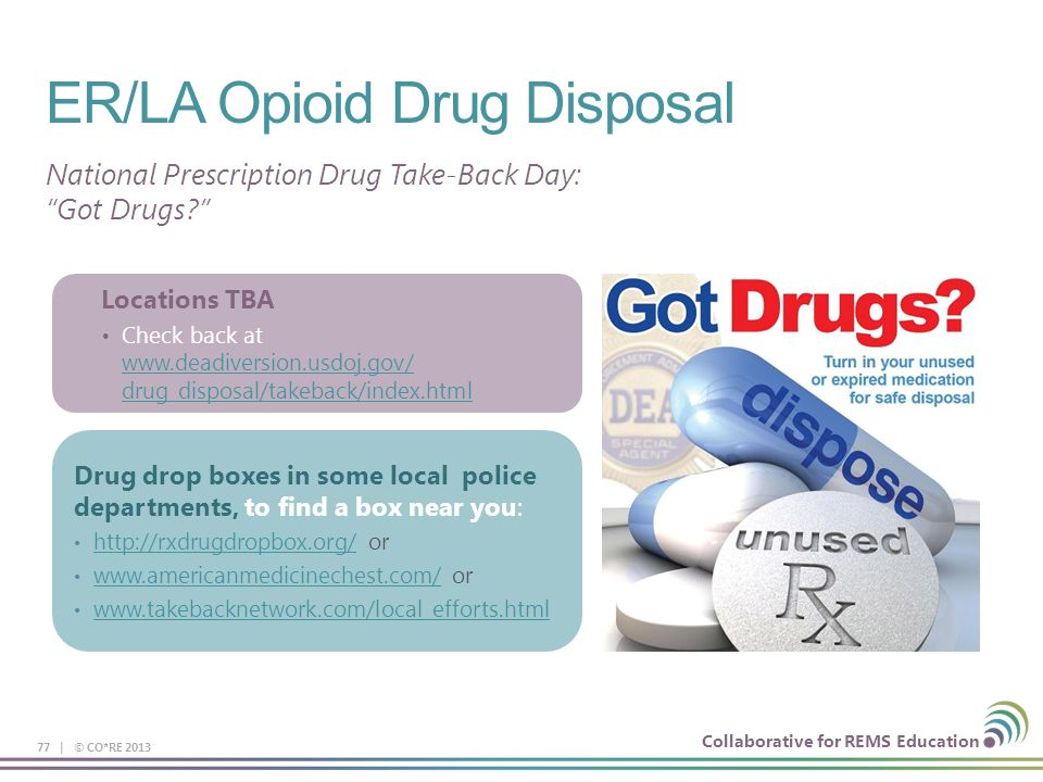 disposal of drug If you have prescription drugs that are past their expiration date or that you no longer use, you can get rid of them safely this saturday at a national.