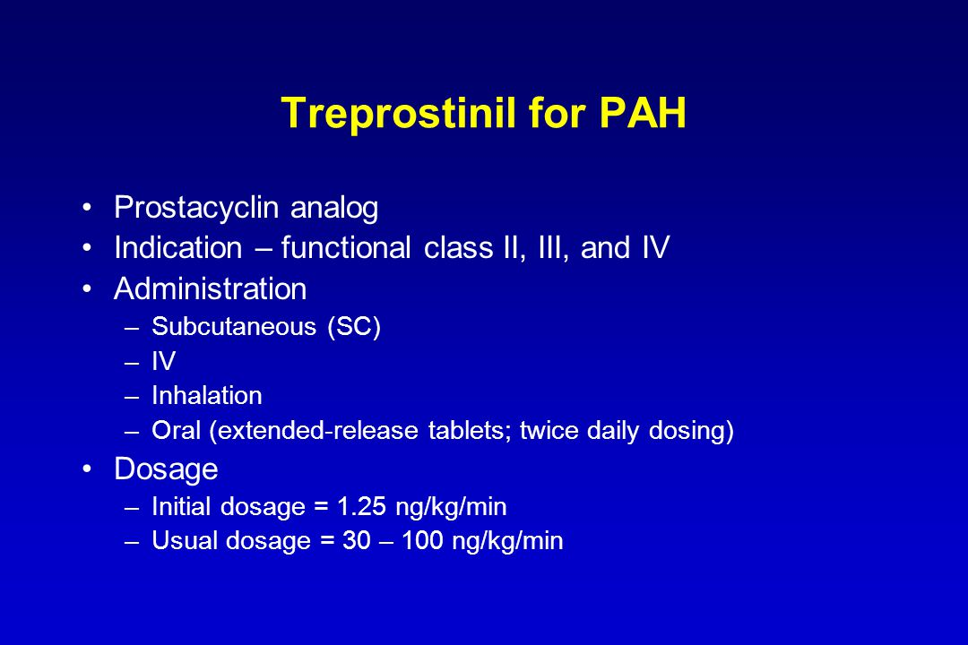 Treprostinil for PAH Prostacyclin analog