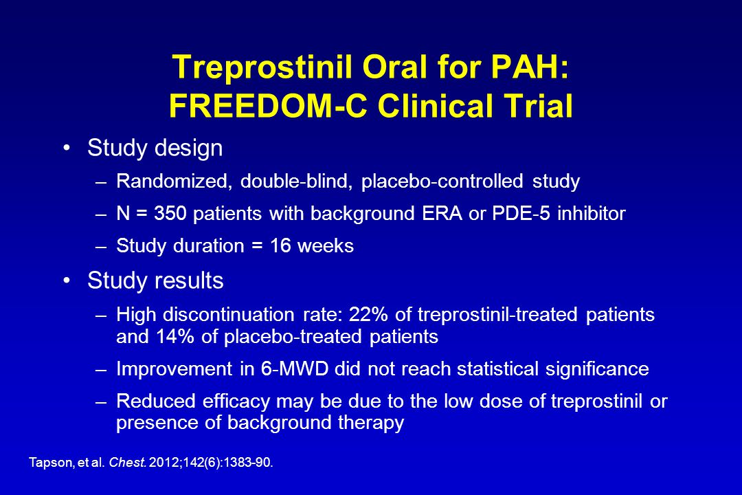 Treprostinil Oral for PAH: FREEDOM-C Clinical Trial