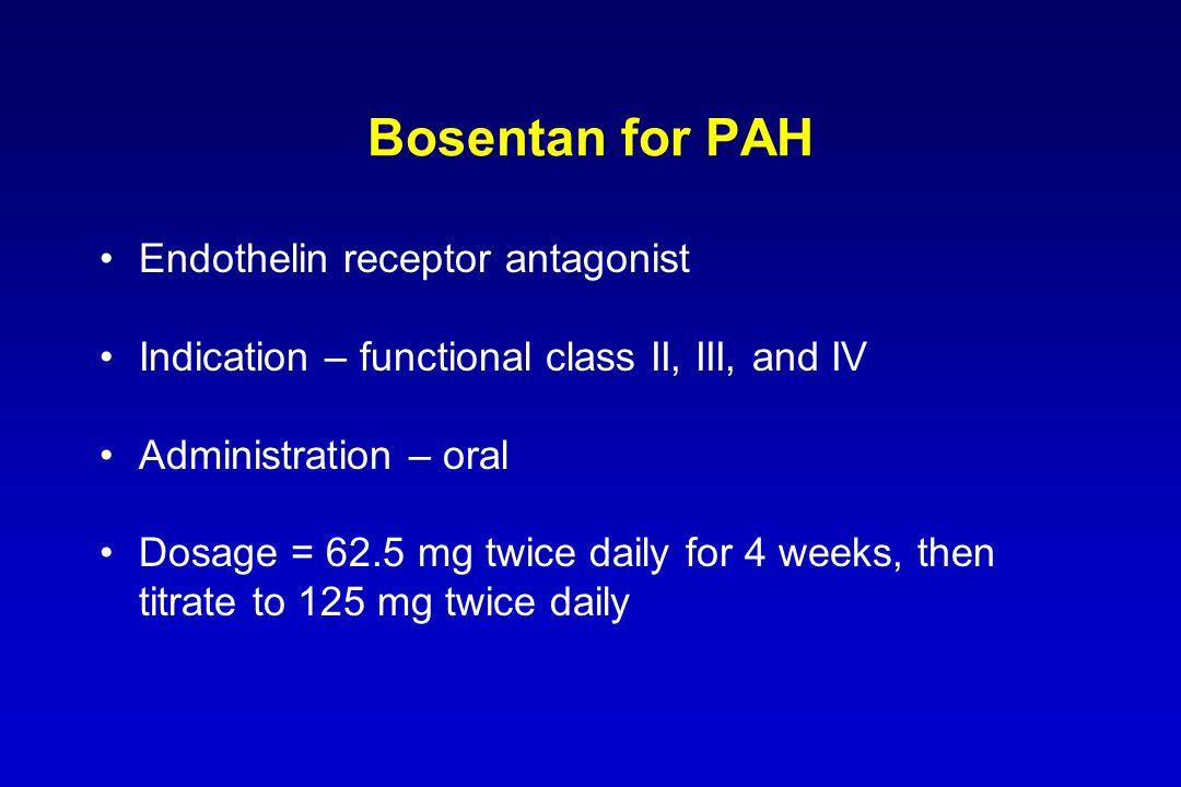 Bosentan for PAH Endothelin receptor antagonist