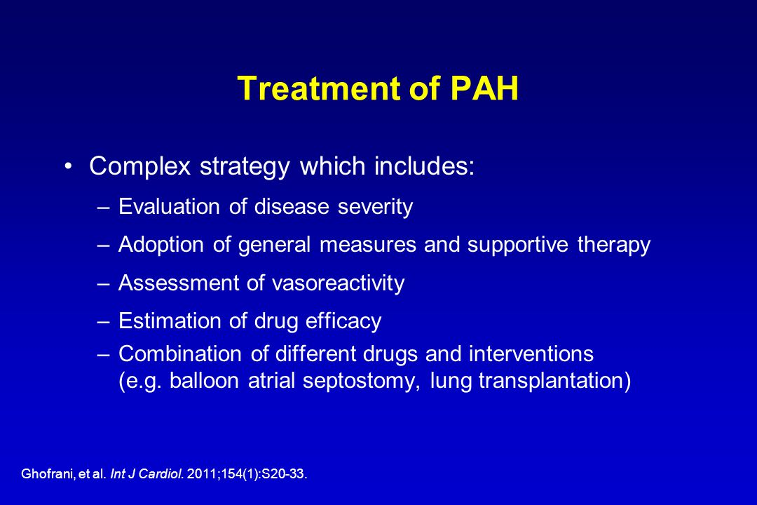 Treatment of PAH Complex strategy which includes:
