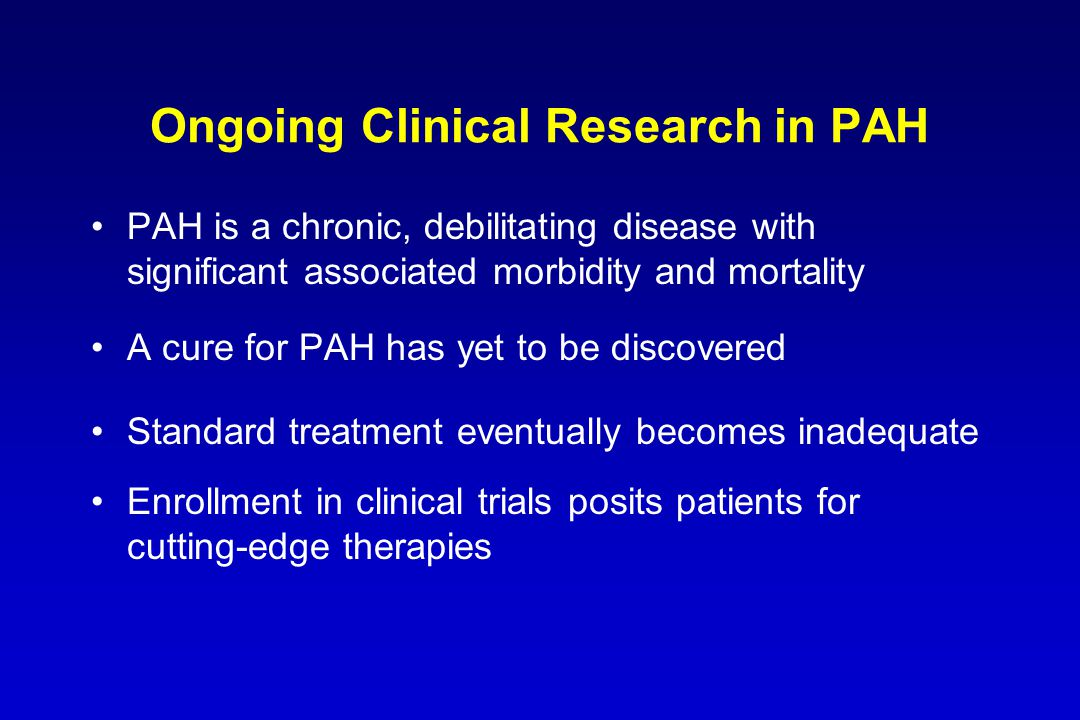 Ongoing Clinical Research in PAH