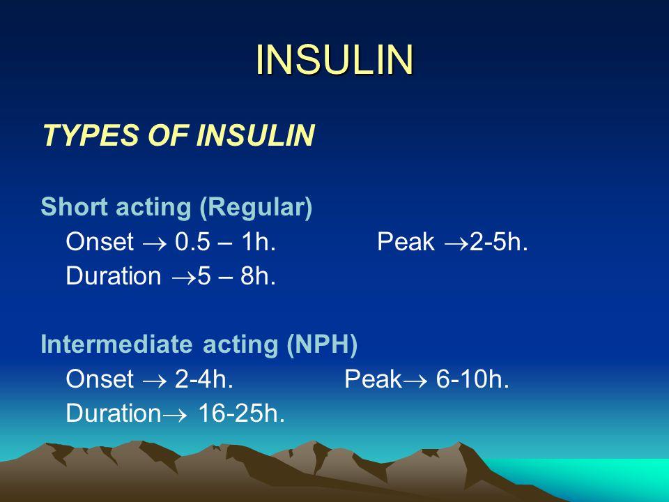INSULIN TYPES OF INSULIN Short acting (Regular)