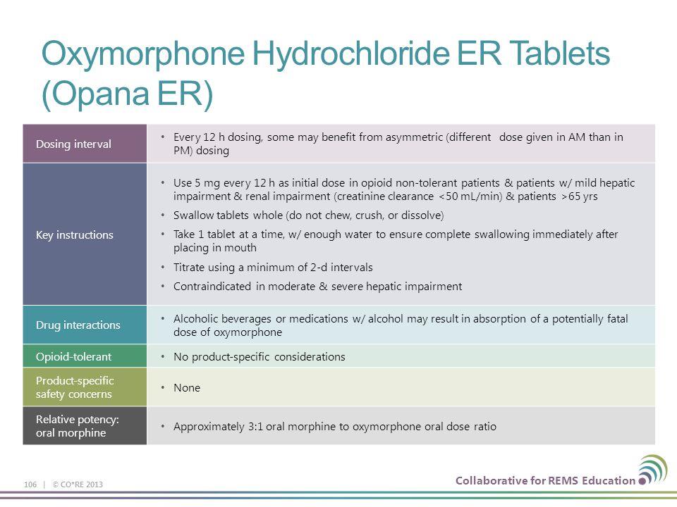 Oxymorphone Hydrochloride ER Tablets (Opana ER)