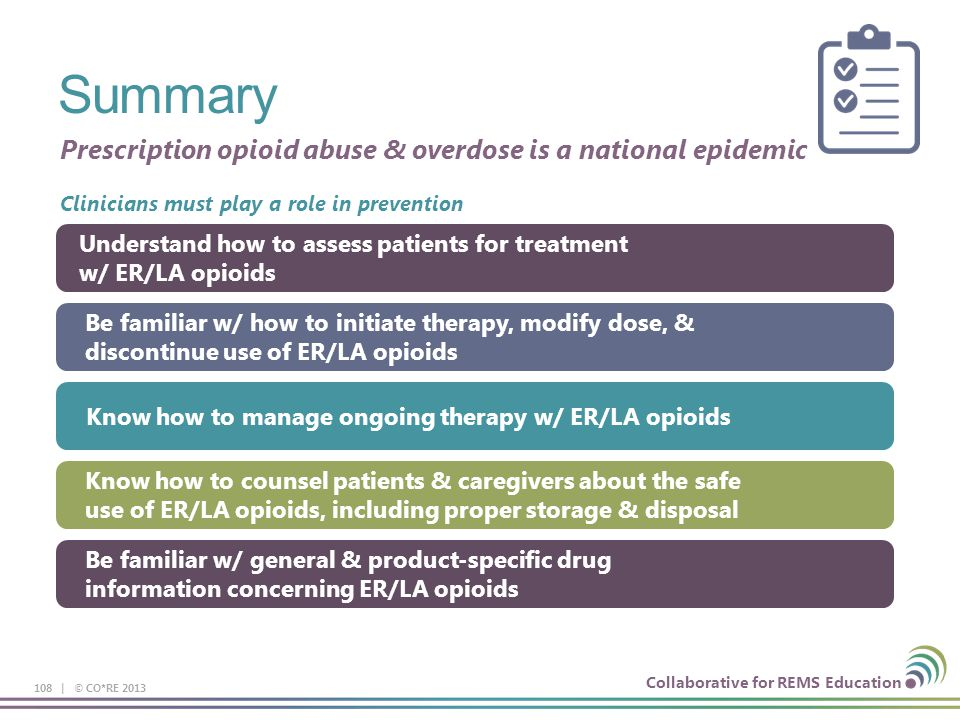 Summary Prescription opioid abuse & overdose is a national epidemic