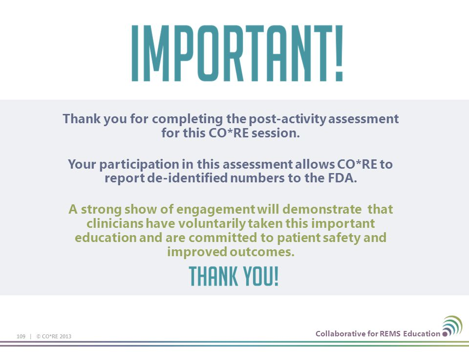 Thank you for completing the post-activity assessment for this CO